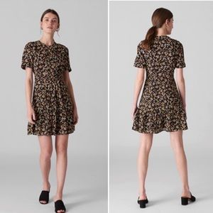 New Whistles London Peony Pleat Dress Floral XS 0
